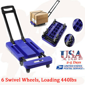 Foldable 440lb Hand Truck Dolly Collapsible Cart Luggage Trolley