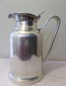 Vintage Silver Plate Water Refill Pitcher Tea Coffee Pot W Lid Marked Underneath