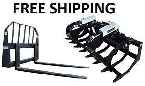 78 Hd Brush Grapple And 48 Pallet Forks Combo Skid Steer Free Shipping
