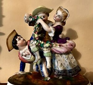 Antique French Porcelain Figurine Group Of Playing Children Jean Gille
