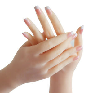 Realistic Soft Silicone Female Mannequin Hands Flexible For Ring