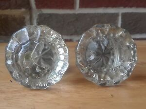 2 Antique Victorian 12 Point Crystal Glass Door Knobs Architectural Vintage