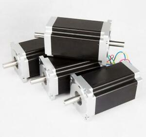 Free Ship Us 3pcs Nema34 Stepper Motor 1600oz in 3 5a Dual Shaft
