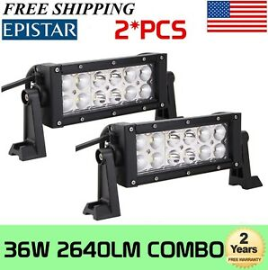 2x 8inch 36w Led Work Light Bar Combo Beam Driving Offroad Lamp 4wd Atv Boat 8
