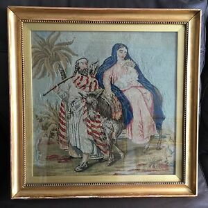 Antique 18 Square Framed Original English Victorian Tapestry Jesus
