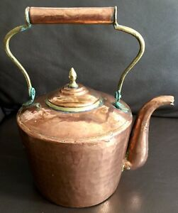 Large Antique 10 26cm Regency Hallmarked Copper Kettle With Brass Inserts