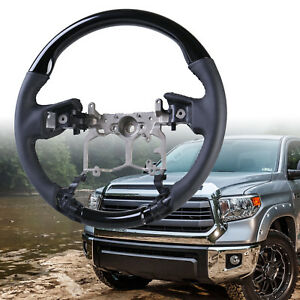 Steering Wheel Black Piano Black Leather For Toyota Tundra 3rd 2014 2018