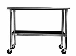 Trinity Ecostorage Nsf Stainless Steel Table With Wheels 48 inch