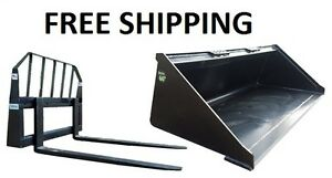 66 Smooth Bucket And 48 Pallet Forks Combo Skid Steer Free Shipping
