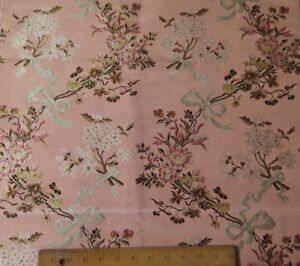 French Antique 19thc Floral Bows Pink Silk Brocade Sample Fabric 38 Lx22 W