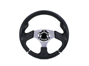 Universal Black Pvc Carbon Fiber Inserts 320mm 6 Bolt Hole Steering Wheel