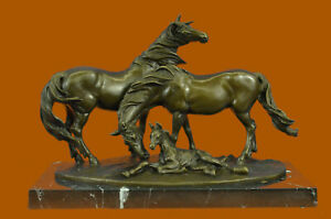 Handcrafted Horse Family Bronze Sculpture Classic Stallion Figurine Statue Decor