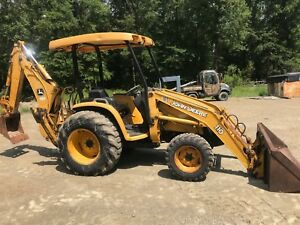 John Deere 110 Backhoe Tractor Loader 4x4 W hydrostatic Trans Good Machine