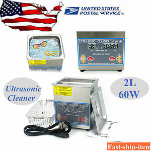 2l Stainless Digital Heated Ultrasonic Cleaner Cleaning Heater W timer basket Us