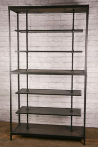 Industrial Reclaimed Wood Retail Fixture Rustic Clothing Rack Display Shelving
