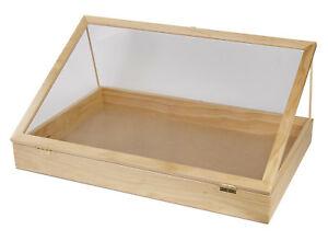 36 Inch Portable Natural Pine Wood Countertop Display Case 24 w X 36 l X 4 d