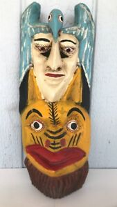 Rare Antique Early Century Hand Carved Painted Tribal Wooden Mask Mexico Indian