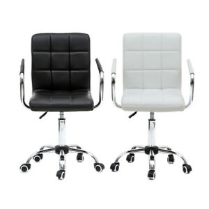 Office Desk Chair Computer Leather Swivel Mid Back Ergonomic Home Seat Modern