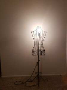 Floor Lamp From A Female Steel Wire Mannequin Dress Form On Decorative Stand