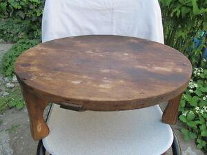 Antique Primitive Very Old Wooden Round Ottoman Dinning Table