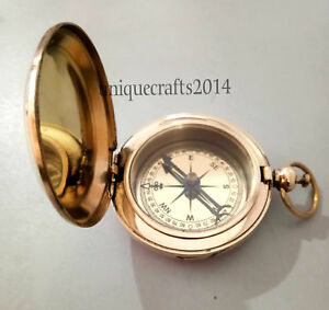 Maritime Nautical Brass Push Button Pocket Compass 2 Magnetic Functional Gift