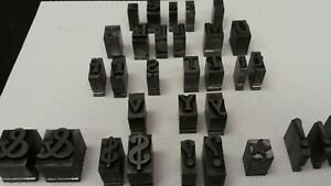 Lot Of 31 Vintage Metal Print Block Stamps Letters And Symbols