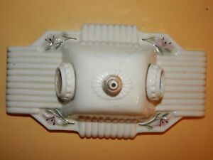 Antique 1930s Art Deco Porcelain Light Fixture