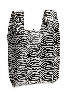 Zebra Print Plastic T shirt Bags Case Of 1 000