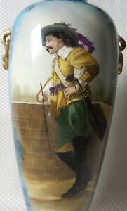 Incredible Antique Large 14 Royal Bonn Hand Painted Musketeer Vase Wallraff