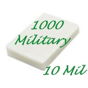 1000 Military Card Laminating Laminator Pouches Sheet 10 Mil 2 5 8 X 3 7 8 Gloss