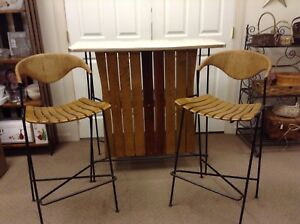 Vintage Mid Century Modern Arthur Umanoff Wood Slat Bar With 2 Rush Back Stools