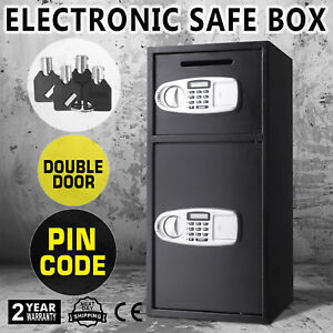 Double Door Cash Office Security Lock Digital Safe Depository Drop Box 4 Keys Us