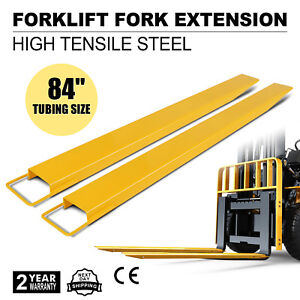 84x5 9 Forklift Pallet Fork Extensions Pair Slide Clamp Industrial Retaining