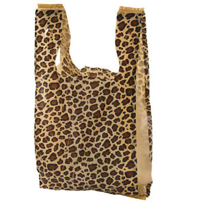 Small Leopard Print Plastic T shirt Bags Case Of 1 000
