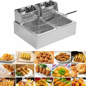 20l Dual Tanks Electric Deep Fryer Commercial Tabletop Fryer basket Scoop Oy