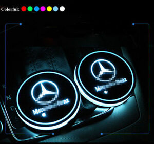 For Mercedes Benz 2x Led Car Cup Holder Pad Mat Auto Atmosphere Light Colorful
