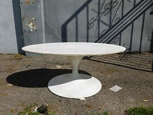 Early Vintage Knoll Saarinen Iron Coffee Table With Laminate Top Signed As Is