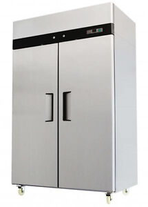 Two 2 Double Door Commercial Stainless Steel Freezer Mbf8002 Mbf 8002 44 5 Cu Ft
