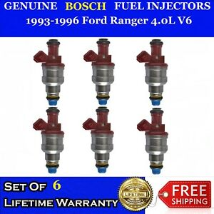 Set Of 6 Oem Bosch Fuel Injectors For 93 96 Ford Ranger 4 0l V6 0280150931