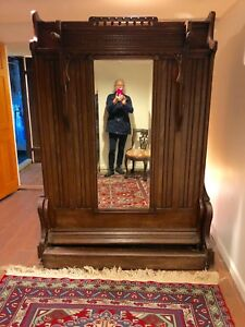 1860 Oak Murphy Bed Full Size All Functions Original Full Size Beveled Mirror