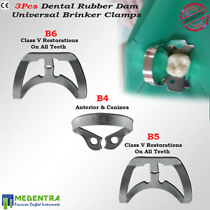 Dental Hygenic Brinker Rubber Dam Clamps Tissue Retractors B4 b5 b6