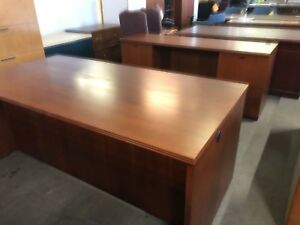 6 Desk Credenza Set By Kimball Office Furniture In Cherry Finish Wood