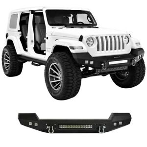 Hooke Road Textured Black Front Bumper W Led Lights Fit Jeep Wrangler Jk 07 18