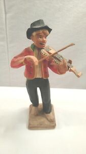 Authentic Henning Hand Carved Wood Figurine Man Playing The Violin Nice
