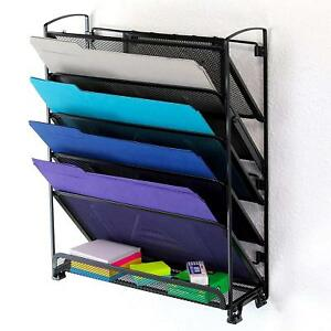 Document Letter Organizer Tilted Tray Wall Mounted 6 Tier Steel Mesh Storage New
