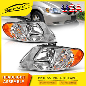 Headlights Assembly For 2001 2007 Dodge Caravan Chrysler Town Country Headlamp