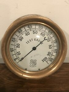 Ashcroft Steam Gauge Vintage 7 Solid Brass Test Gauge Steampunk Industrial