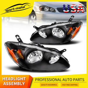 For 2003 2008 Toyota Corolla Black Headlights Lamp Headlamp Amber Reflector Pair