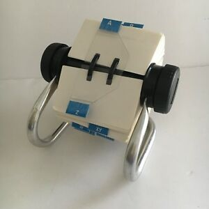 Rolodex Rotary Silver Metal With Blank Unused Cards