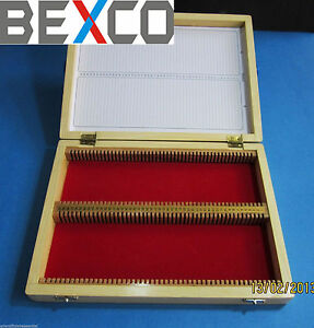 Super Quality Microscope Wooden Slide Box 100 Piece Slides by Bexco Brand